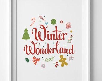 Christmas printable, wall art print, Winter Wonderland, Digital print, xmas print, xmas gift ideas, festive holiday decor, Christmas print