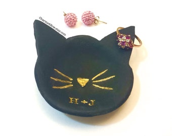 Catchall Cat Ring Dish, Trinket Dish, Girlfriend Gift Wife Gift, Cat Jewelry Dish, Cat Decor, Cat Lover Gift Gold Ring Dish Cat Jewelry Dish