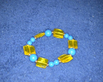 Yellow and Blue Stretch Bracelet