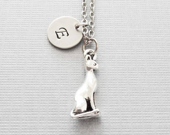 Cat Necklace, Feline Necklace, Egyptian Cat Charm, BFF Gift, Friend Gift, Silver Jewelry, Personalized Monogram, Hand Stamped Letter Initial
