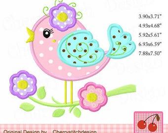 Bird Spring flowers bird Machine Embroidery Applique Design -for 4x4 5x7 6x10 hoop
