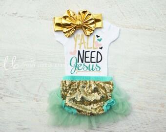 Y'all Need Jesus/ Baby Bodysuit/ Baby Shower Gift/ Baby Clothes/ Baby Girl Bodysuit/ Baby Shirt/ Baby Girl Set/ Baby Girl Gift/ Baby Girl