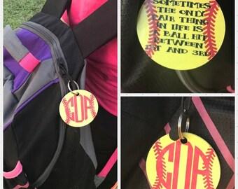 Monogrammed Baseball keychain - monogrammed softball keychain - Gift for softball player - gift for baseball player - gift for softball mom