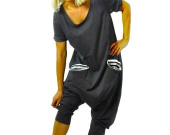 Black Harem jersey Jumpsuit/Women casual jumpsuit/Loose jumpsuit/Black romper/Oversize black jumpsuit/Plus size jumpsuit/Two pockets/G1253