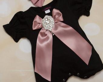Black Baby Girl Romper Set Infant One Piece  with Large Rhinetone Medallion on Satin Bow and matching headband