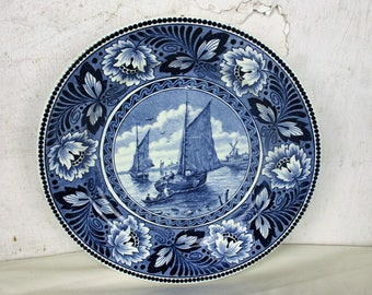 Societe Ceramique Maestricht Holland Plate nautical Sailing boats Decorative