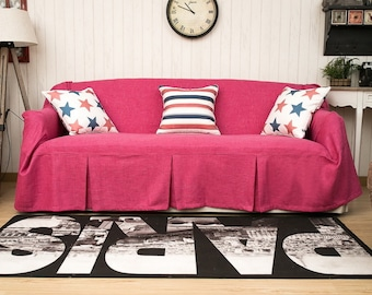 Rose Red Couch Slip Covers, Linen Fabric Couch Covers, Sofa Cover For Dogs  Or