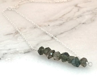 Necklace minimalist nuggets black Tourmaline natural gemstones charcoal sterling silver handmade genuine unique layering jewelry birthstone