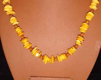 Yellow and Butterscotch Amber with Copper Necklace and Pierced Earring Set