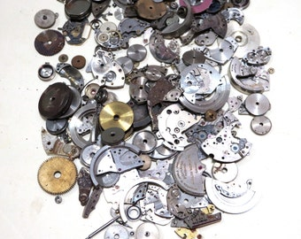 Tiny Steampunk Watch Parts - Assemblage Jewelry Lot Mixed Media