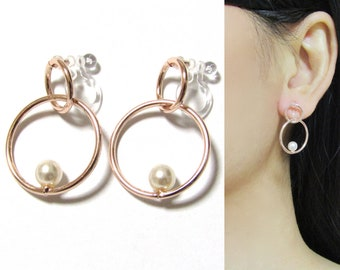 Rose Gold Circle Hoop Clip On Earrings,Pearl Clip On,D7,Long clip on earring,Non Pierced Earring,Geometric modern clip on,Invisible Clip-ons