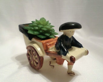 Vintage Japanese Porcelain Man Pulling Rickshaw Made in Japan Pre WWII