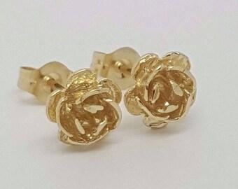 14k Solid Yellow Gold Rose Flower Stud Earrings Women/Children Push Back 7MM