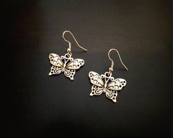 Butterflies, antique silver metal earrings