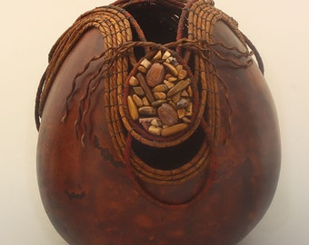 Brown Gourd with Rock Beads -Item 644 by Susan  Ashley