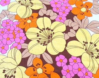 1970er Jahre / Serviette / Tischset / Kraft / Vintage Stoff Blume / retro