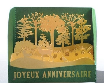 HAPPY Birthday card 3D Forest - Made in France