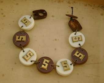 Games People Play - Vintage Backgammon Tiles Letter Initial S Recycled Repurposed Jewelry Bracelet