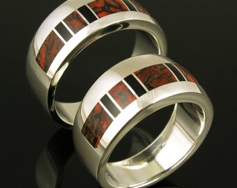 Dinosaur Bone Wedding Rings - Matching His and Hers Dinosaur Bone Wedding Ring Set