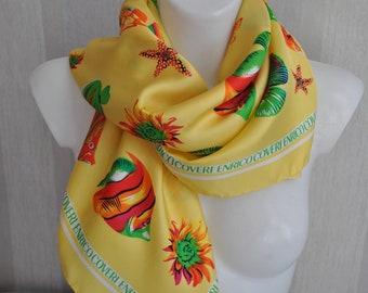 Vintage yellow fishes print Enrico Coveri  silk scarf