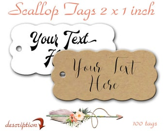 Scallop Tags, 100 Tags, 2 x 1 inch Tags, Jewelry Tags, Price Tags, Clothing Tags, Merchandise Tags, Product Lables