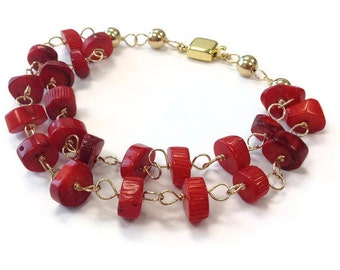 Red Coral Bracelet - Multistrand Jewelry - Box Clasp - Gemstone Jewellery - Fashion Statement Gold Wire Wrapped B-236
