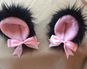 """5"""" Black and pink kitten play ears"""