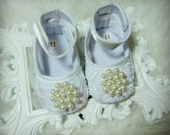 SALE!!! White Rosette Baby Girl Shoes