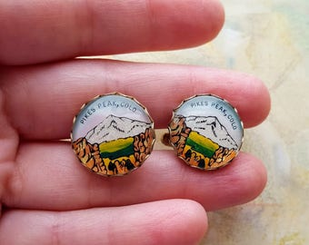 2 piece Set Vintage Pike's Peak Colorado Cuff links,Scenic Mountains,resin,round,domed,mens