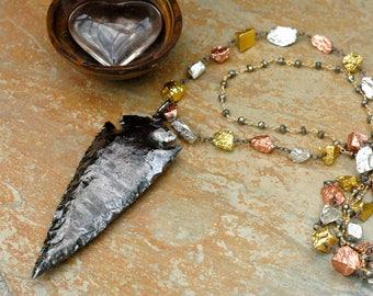Arrowhead Necklace; Double Strand Necklace; Raw Pyrite Jewelry; Large Arrowhead Pendant; Black Arrowhead; Multicolor Metal Necklace