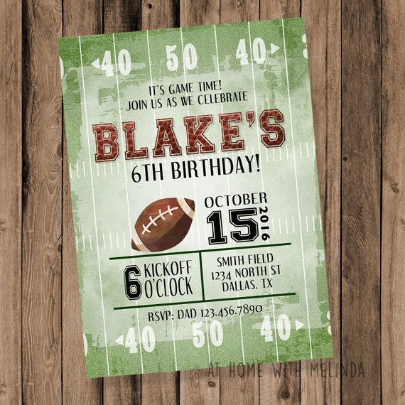 Football Birthday Party Invite