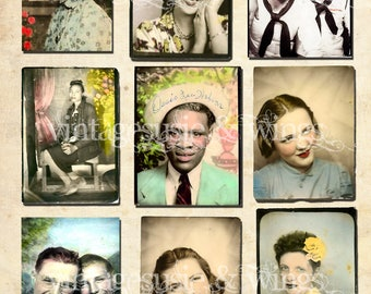 Vintage Hand Tinted PHOTO BOOTH WEDDING Men Women Couples Pictures Collage Sheet Digital Download 2