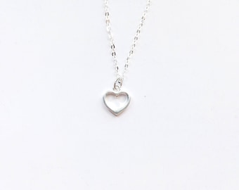 Sterling Silver Heart Necklace / Mom Necklace