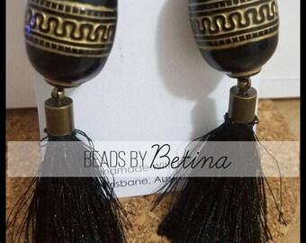 BEE//BOLD: Tribal Black Tassel Earrings