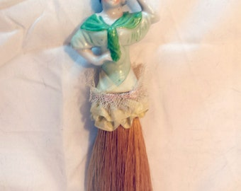 Vintage 1920s Porcelain Flapper Half Doll Hat Clothes Brush Whisk Mint Green with Ribbon Lace and Pink Silk Braid