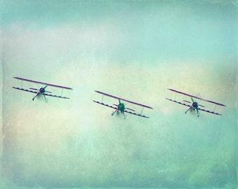 Vintage Airplane Art Photograph - Nursery Print Blue Green Aqua Three Antique Biplanes Flying Aviation Boy Room Photograph