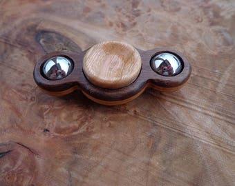 NEW! Mini Twin Spin hand spinner Fidget Toy Desk Toy Laminated Walnut & Cherry Hybrid Ceramic EDC