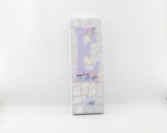 Mosaic Wall Hook - Letter E - Broken China - Peg Board - Coat Hanger - Personalized - Lavender and Purple