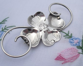Arts and Crafts Sterling Silver Brooch, Hallmarked Sterling Handmade, Art Nouveau Antique Jewelry Pin
