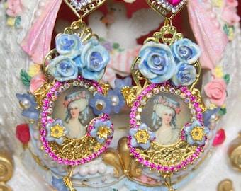 Marie Antoinette Victorian Fuchsia Blue Rose  Crystal Cameo  Studs Earrings