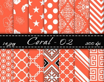 Coral Scrapbook Paper , Coral digital paper, Digital Backgrounds, Scrapbooking Papers, For Personal Or Commercial Use, Instant