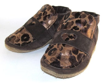 Soft Sole, Handmade Leather Baby Shoes, Moccs, Loafers, Metallic, Animal Print, 12 to 18 Month