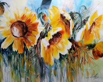 Sunflowers(70x100cm, oil painting, flowers, impressionistic, modern art)