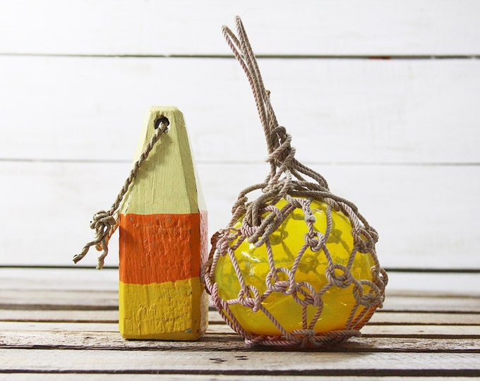 Beach Decor Set: Yellow Lobster Buoy and Yellow Glass Fishing Float in Rope by SEASTYLE