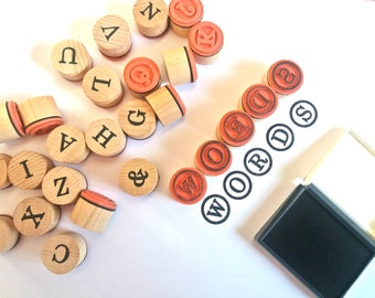 Stamp set with letters of the alphabet