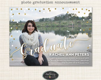 Photo Graduation Announcement Invitation - FAUX glitter - Printable or Printed Cards