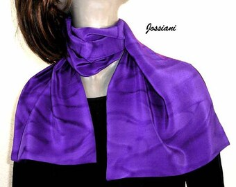 Purple Silk Scarf,  Hand Painted Silk, Crepe Neck Scarf, One of a Kind, Scarf for Men, Unisex Scarf, Jossiani  silk creation.