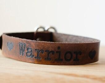 Love Warrior Wide Adjustable Leather Single Wrap Bracelet with Custom Text
