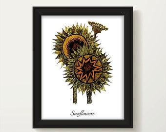 Sunflower Print, Botanical Print, Sunflower Wall Art, Gardeners Gift, Sunflower Painting, Digital Sunflower Art, Sunflower Art Print, P1014A