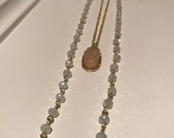 Blush druzy stone chain necklace